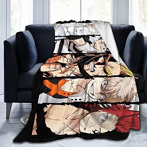 Manta de Anime Throws Comfort Lightweigt, cálida, suave, acogedora, manta de forro polar, manta de sofá, manta reversible para cama de TV para niños y niñas, color negro de 40 x 40 pulgadas