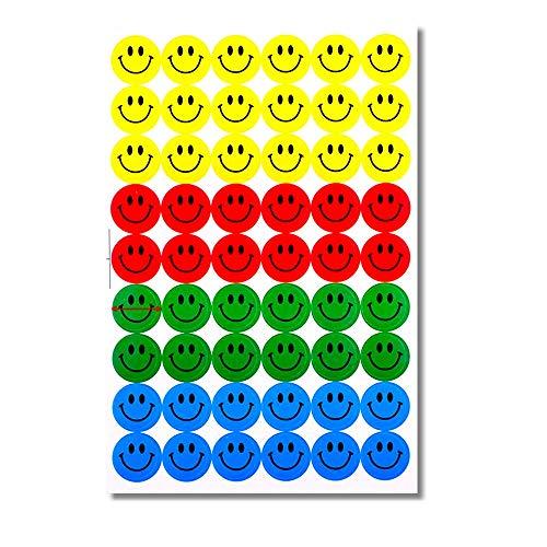 EROSPA® 540 Stück Smiley Sticker   Aufkleber Rund Ø 15 mm - 10 Blatt - Lächelnd - Gelb   Rot   Grün   Blau