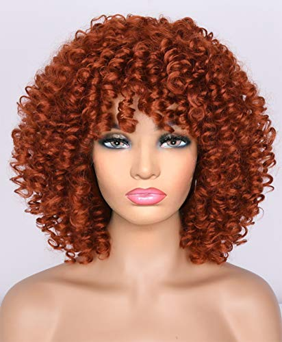 Annivia Short Curly Wig for Black Women with Bangs Big Bouncy Fluffy Kinky Curly Wig Heat Resist Soft Synthetic 350R Orange Red Short Curly Afro Wig