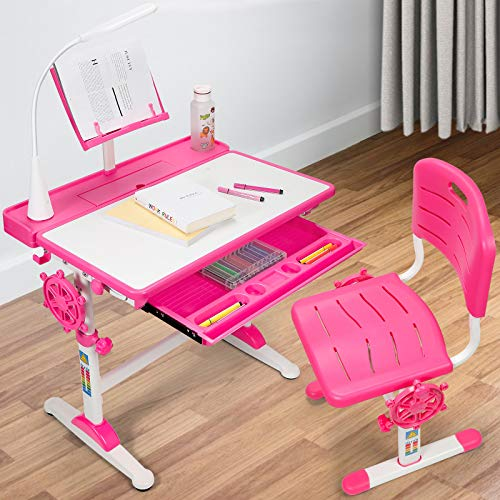 Desk and Chair Set for Kids, Height Adjustable Children's Functional Desk and Chair, Pull-Out Drawer Storage and Touch Led, Ergonomic Children's School Workstation and Home Kids Study Desk (Pink)