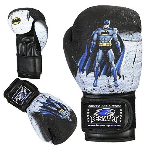 Islero Kinder-Boxhandschuhe mit Polster, Boxsack für Mixed Martial Arts, Muay Thai usw. 113g - 227g, batman, 6 oz