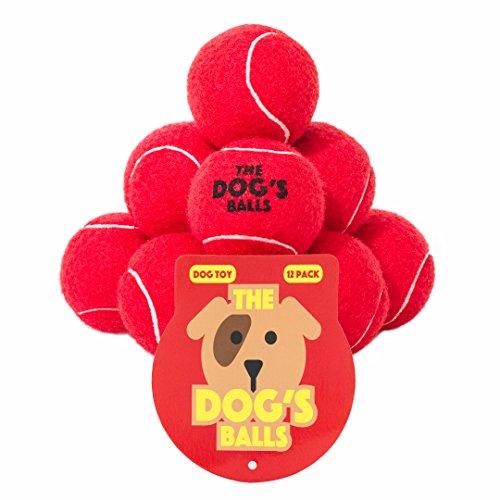 De hondenballen, hondentennisballen in 3 maten, 4 kleuren, hoogwaardig hondenspeelgoed, premium sterke hondenbal, The Dog's Balls (Pack of 12), Rood
