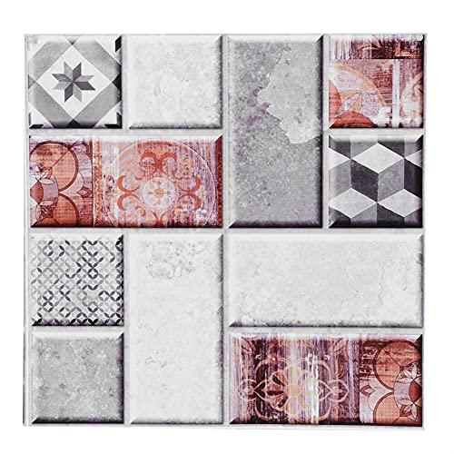Etiqueta engomada de la pared, bellas pegatinas Simulación autoadhesiva Patrón de azulejos PVC 20x20cm para decoración del hogar