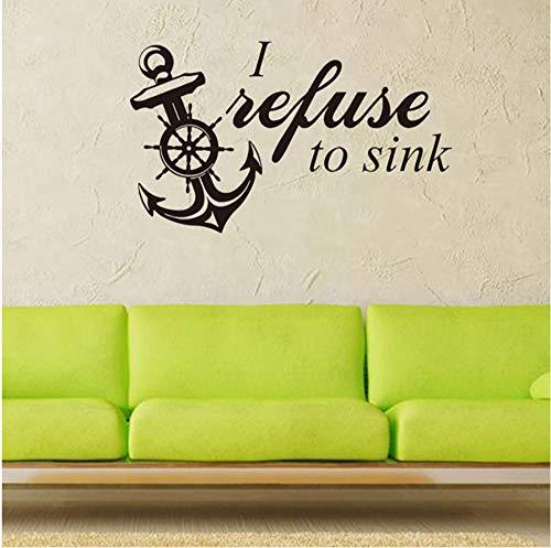 Pbbzl Weigeren naar wastafel Anker Vinyl Muursticker Home Decor Woonkamer Slaapkamer Art Behang Verwijderbare Muurstickers 57X34Cm