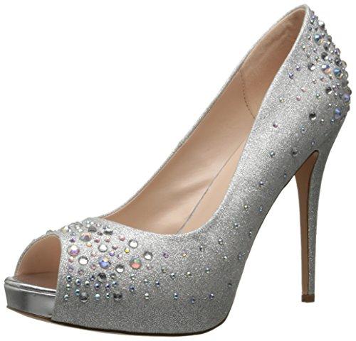 Pleaser Damen Heiress 22r Peep-Toe Pumps, Silber (Slv Shimmering Fabric), 39.5 EU