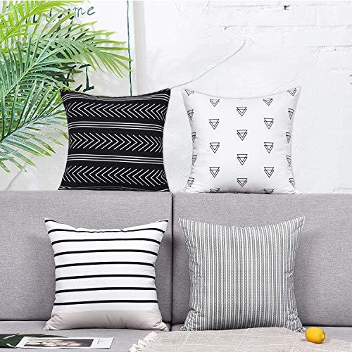 Alishomtll Kissenbezug Kissenhülle 4er Set Polyester Zierkissenbezug mit Reißverschluss Dekorativ Set für Sofa Schlafzimmer, 45 x 45 cm