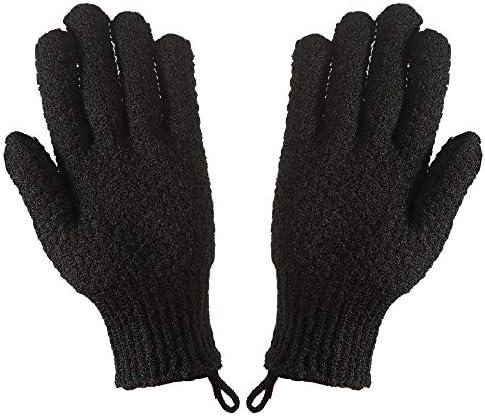 CLEEDY Black Bath Exfoliating Gloves Scrub 2 Pcs Men s Charcoal Large Exfoliating Scrubbing product image
