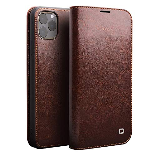 Genuine Leather iPhone 11 Pro Max Wallet Case Credit Card Slot Business Style Flip Case for iPhone 11 Pro Max (6.5-inch 2019) (Brown, iPhone11ProMax 6.5inch)