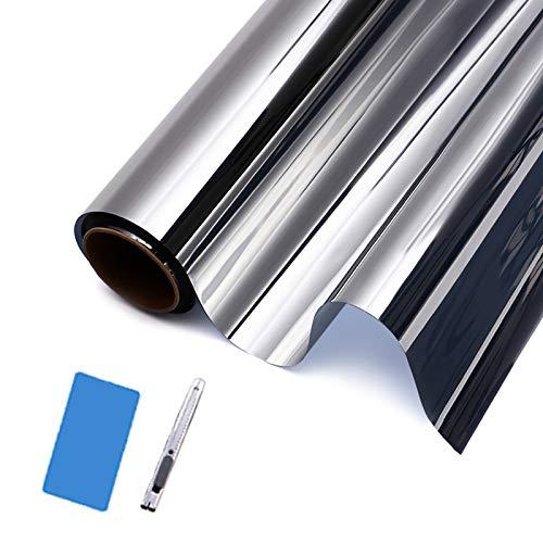 Surmounty Lámina de protección solar para ventana, lámina de espejo autoadhesiva 99 {c84b8e850cbf55bb6854a6d00066e1bc63ae8bbe5d9a4fc80e193af5f18f85a5} anti-UV, lámina tintada, aislamiento térmico, sin pegamento, incluye accesorios de montaje