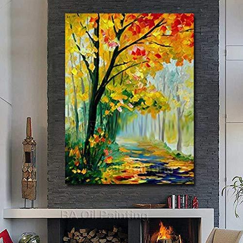 Rincr handgeschilderd goedkope moderne canvas boom straat olieverfschilderij op canvas schilderij wandschilderij voor woonkamer decoratie niet ingelijst