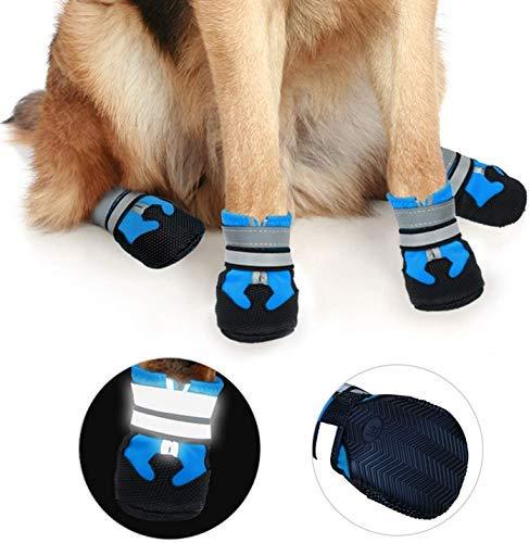 iPobie 4 Piezas Zapatos para Perros, Protectores Patas para Perro, Botas para Perros Zapatos Impermeables para Perros con Suela Antideslizante Resistente (S, Azul)