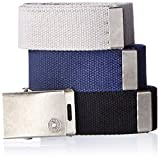Levi's Men's Cut To Fit 3 Pack Web Belt With Buckle,black/blue/grey,One Size