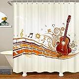 Juego de cortina de ducha con diseño de música rock para niños, niñas, adolescentes, retro, cortina de baño musical, transpirable, elegante, impermeable, decoración de habitación de 180 x 210 cm