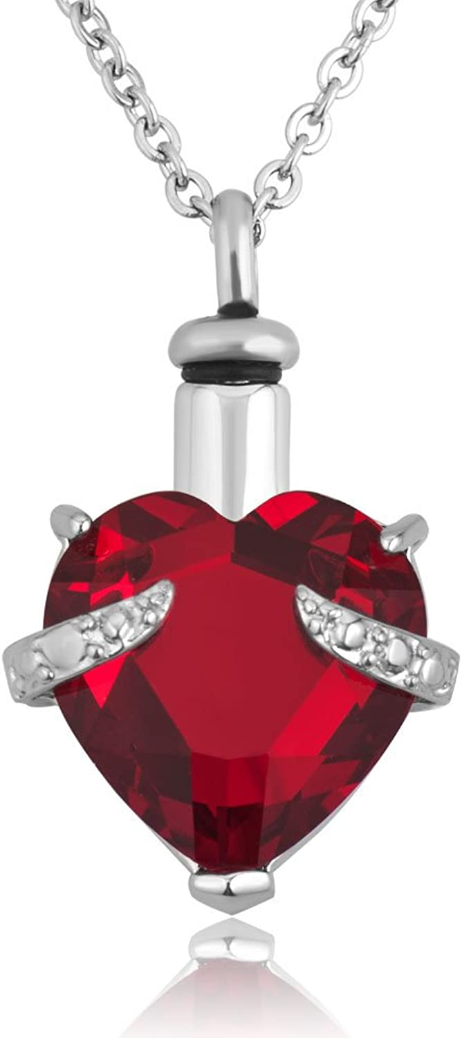 Moonlight Collections Red Faceted Heart Cut Cremation Urn Necklace Keepsake Locket (Pick Your color)