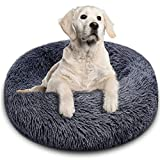 BITIANTEAM Calming Dog Bed Comfortable Cat Bed Donut Cuddler Round Dog Pillow Bed Nest Anti-Slip Faux Fur Ultra Soft Washable for Dog Cat Joint-Relief Improved Sleep Dark Gray (24'' x 24'')