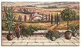 Artland Leinwandbilder auf Holz Wandbild 70x40 cm Querformat Landschaft Italien Toskana Terrasse Urlaub mediterran Braun T4BP