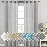 Elegant Natural Linen Sheer Curtains for Bedroom, Energy Saving Easy Care Privacy Protection Nickel Grommet Window Panels / Drapes for Nursery Room / Living Room ( Set of 2, 52x84-Inch, Grey)