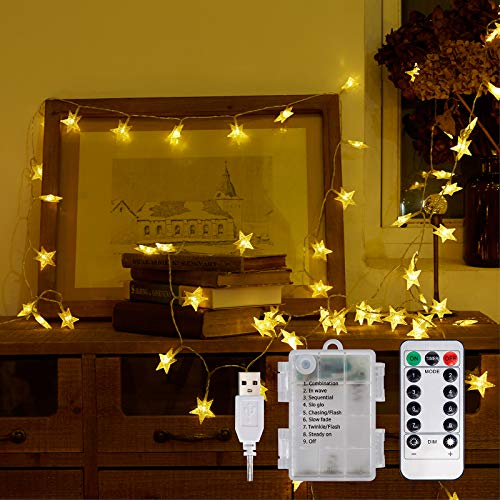 Star Fairy Lights Battery Powered 10 Metres 100 LEDs Indoor and Outdoor String Lights Ideal for Girls Bedroom Christmas Wedding Room Decoration Party Garden Warm White
