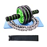 Home Belly Wheel AB Roller Wheel Set 3-Wheels AB Wheel Resistance Bands Push Up Bars Home Gym Workout Equipment For Core and Abdominal Workout Core Abs