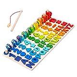 TOYANDONA Formas matemáticas Montessori Puzzle juguetes rompecabezas matemáticas de madera rompecabezas educativos con números abecedario juguete para niños