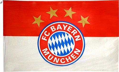FC Bayern Fahne Hissflagge Originalware Flagge Motiv Logo 250 x 150 cm mit Karabinerhaken und Seilende