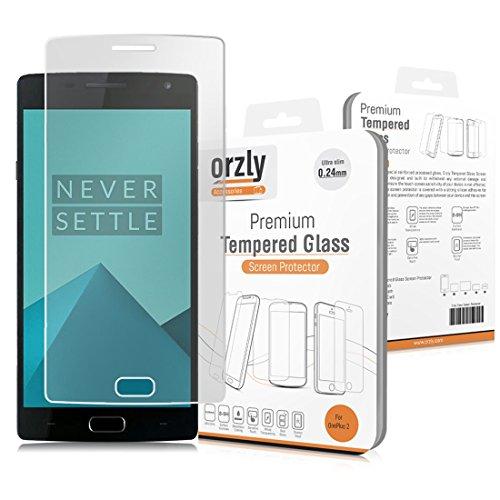 Orzly® - Premium Hartglas Bildschirmschutzfolie für OnePlus 2 Smartphone/Handy (2015 Modell/ONE Plus Two) - 0,24mm Gehärtetem Glas - Tempered Glass Screen Protector - Transparent