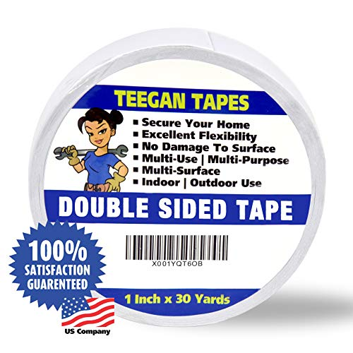 """Double Sided Tape, Secure Your Carpets, Rugs, Tape for Clothes, Fabric, Multi-Purpose, Strong Hold 1"""" X 30 Yards"""