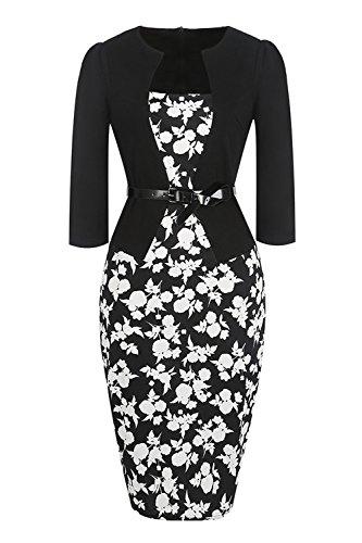 Misshow Damen Retro 3/4arm Abend Bleistift Kleid Floral Kleider Partikleid Business Kleid