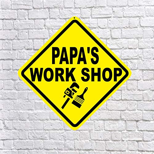 Papa'S Workshop - Quality Aluminum Sign Gift For Father Dad Grandpa Pop Grandfather Pepere Shed Garage Room Mancave Decor