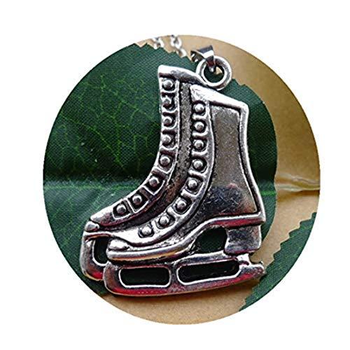 GYKMDF - Collar con colgante de patines de hockey sobre hielo, diseño de patines de hockey sobre hielo, color plateado