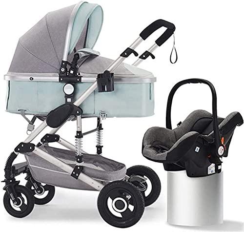 Chilequano Cochecito portátil, cochecito de bebé 2 en 1, cochecito de reclinación convertible, sistema de viaje Carruaje infantil con arnés de 5 puntos, sochecilla de alta vista de alta shock plegable