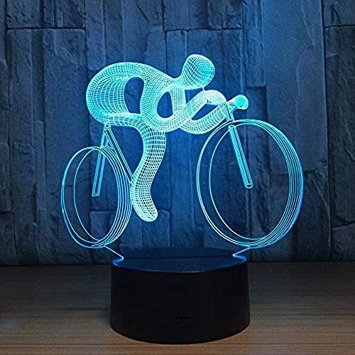 Bicicleta deportes 3D moderno abstracto LED luz nocturna 7 colores cambian automáticamente...