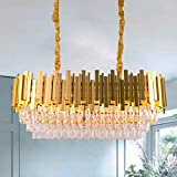 Luxury K9 Crystal Pendant Light,Oval Crystal Chandelier 3 Tiers Raindrop Crystals Flush Mount Ceiling Light Fixture with Adjustable Hanging Chain for Dining Room Living Room,E14 x 10 Lights,Gold