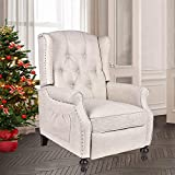 Grepatio Wingback Recliner Chair - Massage Heated Recliner Chair with Remote Control, Single Sofa Mid-Century High Back Accent Chair Tufted Chair