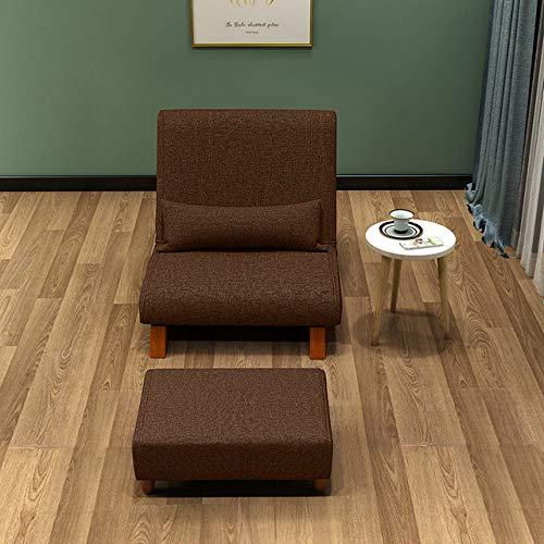 Stoel LKU Opklapbare enkele fauteuil met Ottomaanse Japanse fauteuil, donkerbruin W-poef