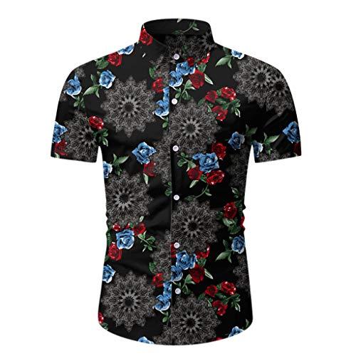 TWISFER Herren Hemd Casual Sommer Printed Button Kurzarm Hawaiian T-Shirt Top Bluse Business Pool Party Casual Tee Shirt Blätter blüht Ethnischen Druck Oberteile