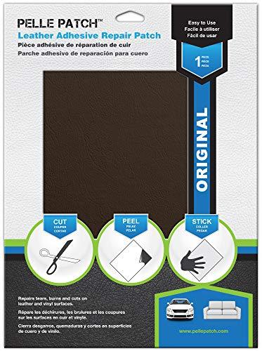 Pelle Patch - Pièce adhésive de réparation de Cuir et Vinyle - 25 Couleurs Disponibles - Original 20cm x 28cm - Marron
