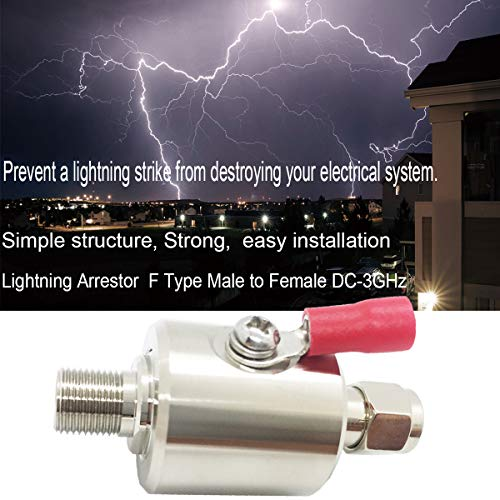 Lightning Arrestor F Male to F Female DC-3GHz 75 ohm Cellular 2G 3G 4G LTE CATV Satellite with 90V Gas Tube Surge Arrester