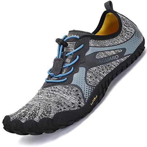 SAGUARO Barfussschuhe Herren Zehenschuhe Barfußschuhe Outdoor Traillaufschuhe Training Fitnessschuhe Männer Minimalistische Grau 45 EU