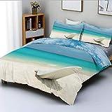 Juego de funda nórdica, cama de playa de Maldivas en la orilla del mar, día soleado, imagen de destino de viaje, juego de cama decorativo de 3 piezas con 2 fundas de almohada, color turquesa, blanco r