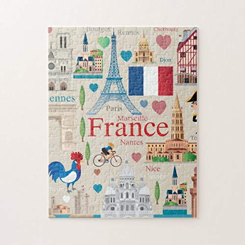 CICIDI Cute France Icons Jigsaw Puzzle 1000 Pieces for Adult Entertainment DIY Toys , Graet Gift Home Decor
