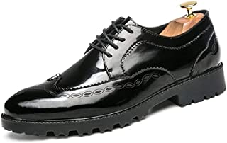 ZhaoXin Chen Men's Fashion Oxford Casual Comfortable Outsole Retro Wipe Ribbon Brogue Shoes (Color : Black, Size : 10 UK)