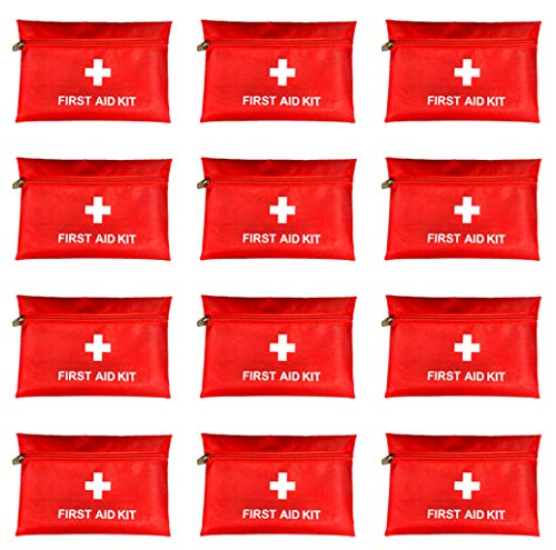 """Red First Aid Bag Empty First Aid Kit Empty Waterproof First Aid Pouch Small Mini for First Aid Kits Pack Emergency Hiking Backpacking Camping Travel Car Cycling (Red, 7.9x5.5"""" 12 Pack)"""