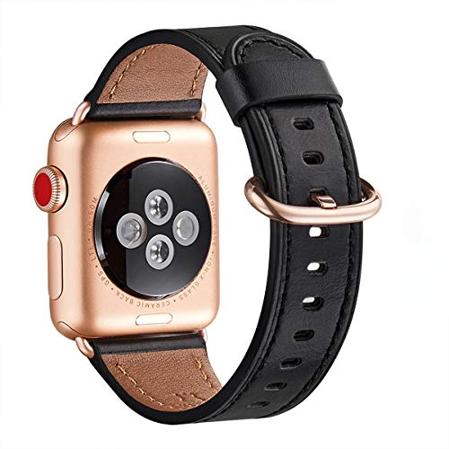 WFEAGL Kompatibel für Watch Armband 38mm 40mm 42mm 44mm,Top Grain Lederband Ersatzband mit Edelstahl-Verschluss Kompatibel für Serie 5/4/3/2/1(38mm 40mm, Schwarz+Roségold Adapter)