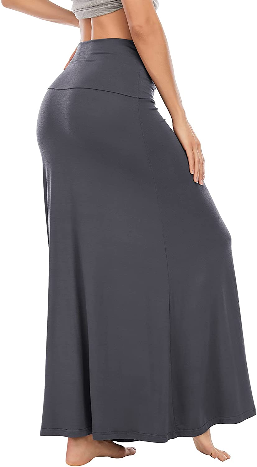 Durio Maxi Skirt Casual Stretchy Long Skirts for Women High Waisted Stylish Flare Black Skirt