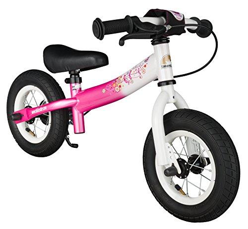 BIKESTAR Kinder Laufrad Lauflernrad Kinderrad für Mädchen ab 2 - 3 Jahre mit Luftbereifung und Bremse ★ 10 Zoll Sport Kinderlaufrad ★ Pink & Weiß