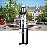 Bomba de agua solar para pozos profundos, CC 24 V, bomba sumergible, bomba de agua para brazo sumergible(cantidad máxima de transporte: 16 L/min, 200 W,diámetro de 77 mm)