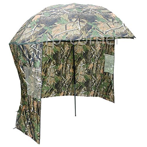 """45"""" Inch Fishing Tackle Brolly Umbrella System with Zip On sides In Camo"""