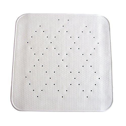 MSV Tapis Caoutchouc Douche Design Blanc 54x54, Carbonate de Calcium