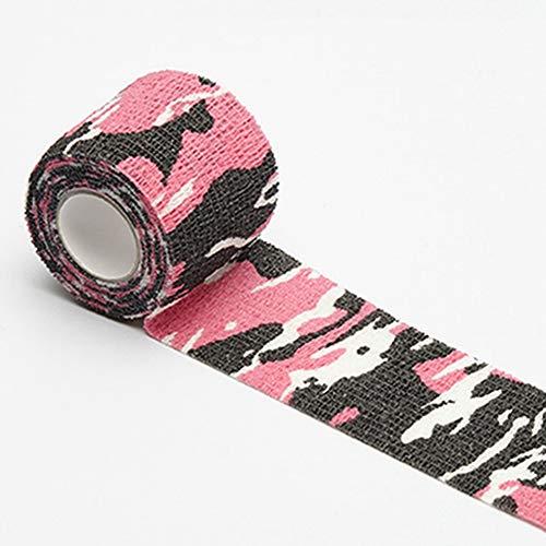 Egurs 1 Rollen 5.5cm * 4.5m Tarnung Selbstklebende Bandage Vliesstoff Camouflage Band Kohäsive Elastisch Bandage Fixierbinde für Sport Arbeit Reiten Rosa Tarnung